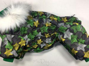 Зимний комбинезон McDog «Зеленые звезды» с меховым воротником