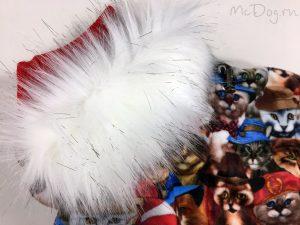 Зимний флисовый комбинезон McDog «Кошки с красным» с меховым воротником